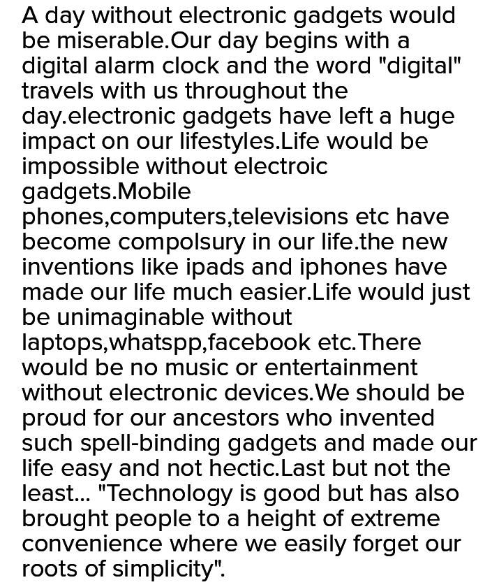 essay on life without electronic gadgets