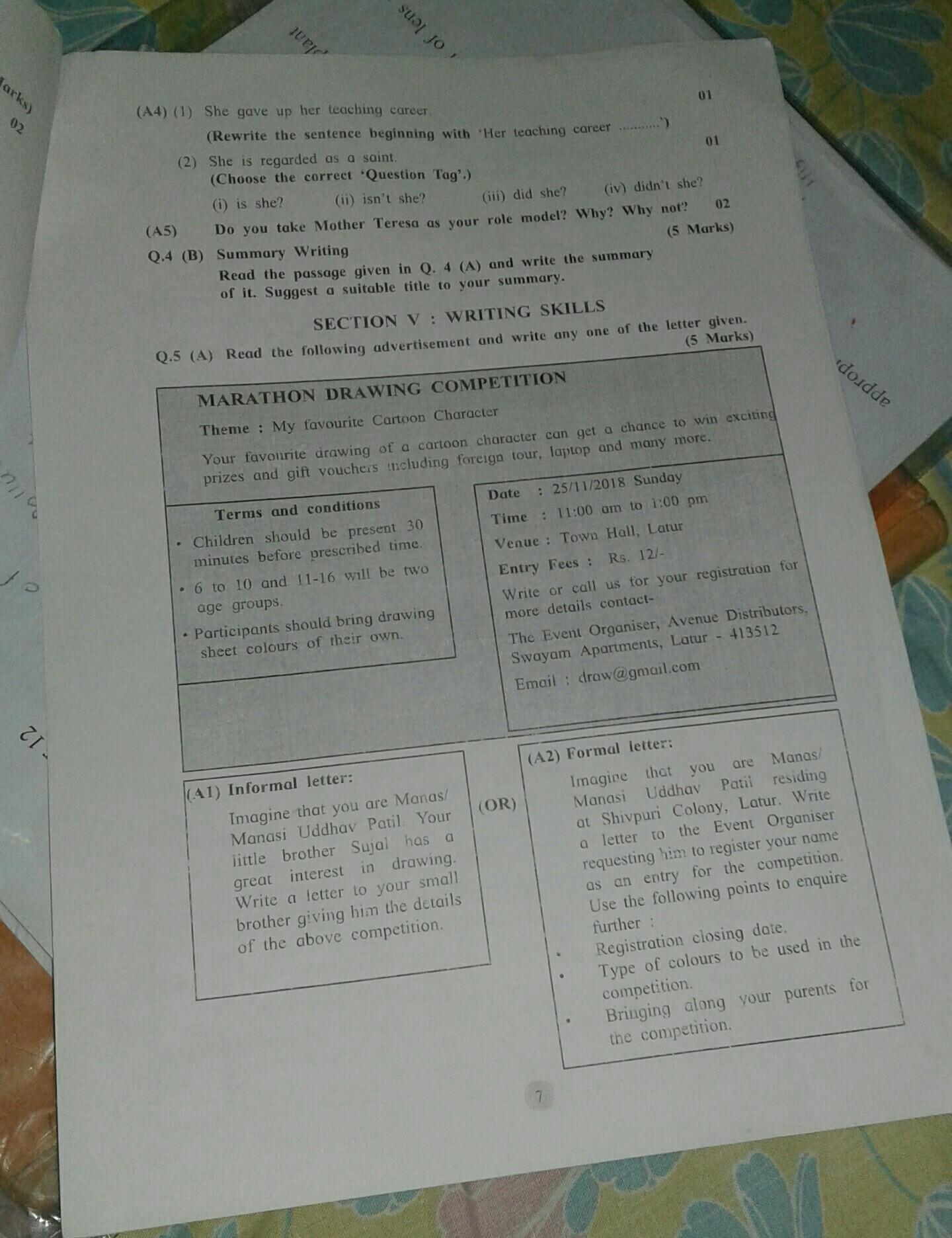 Informal Letter Help Me
