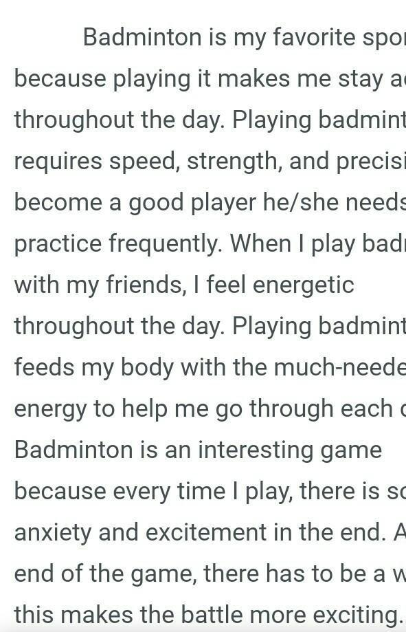 Essay on my favourite sport badminton essay on how to do laundry