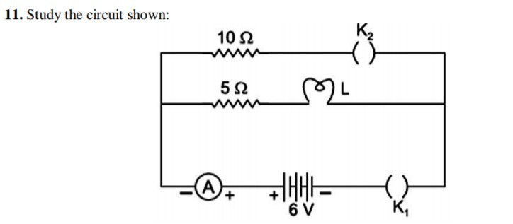 A Current Of 0 6 A Is Shown By Ammeter In The Circuit When The Key