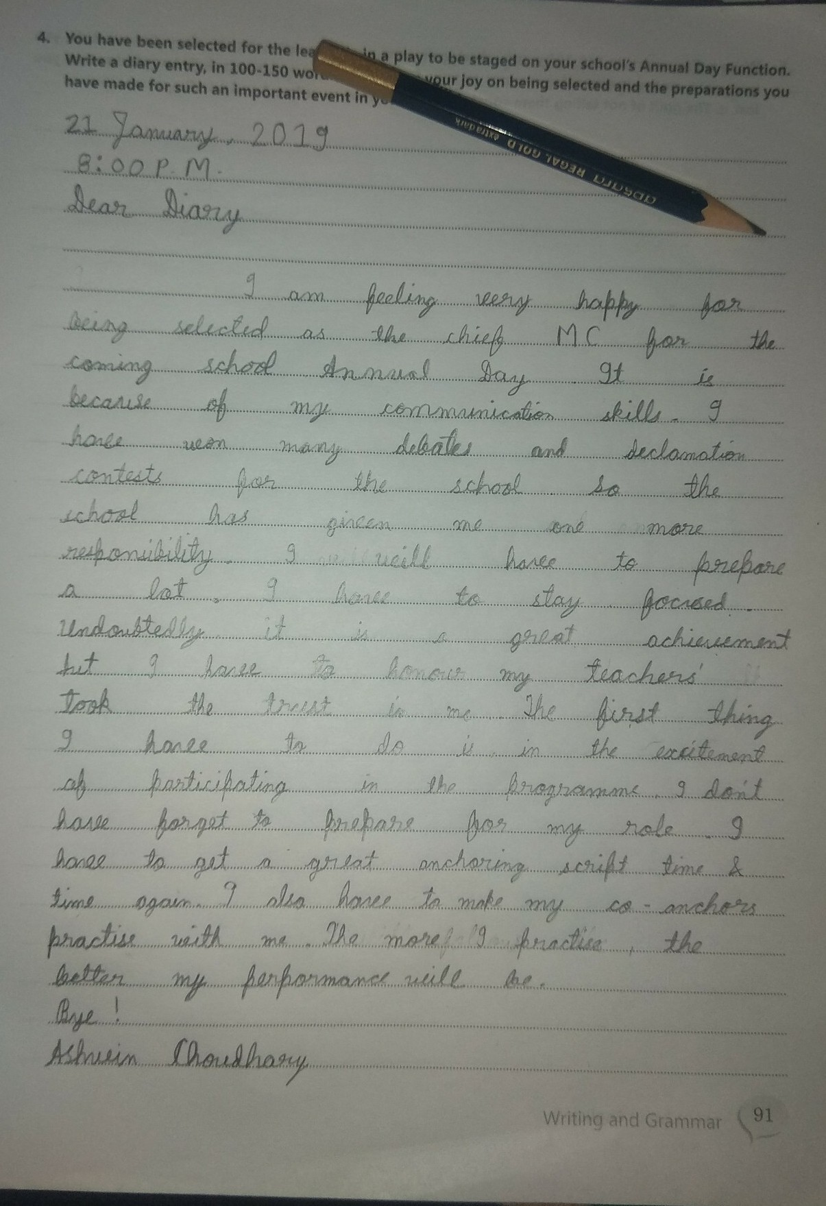 diary entry you are selected to play lead role in annual day