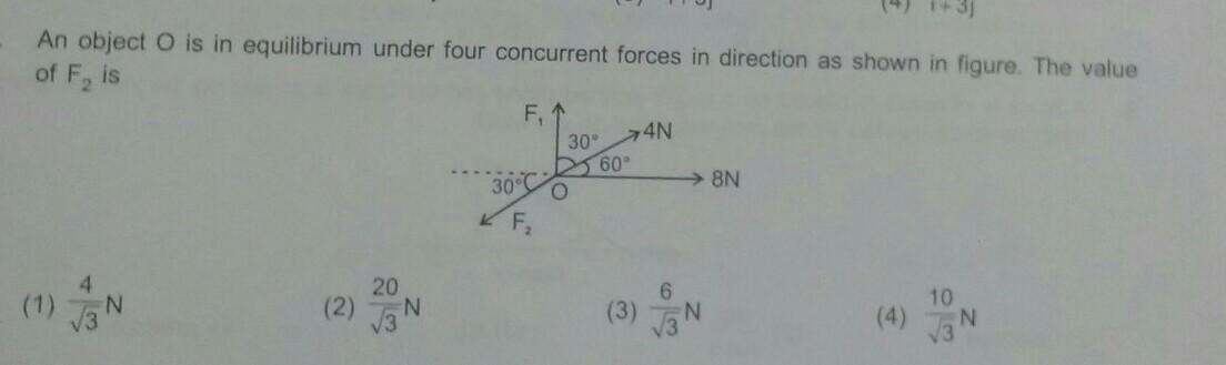 An object O is in equilibrium under four concurrent forces