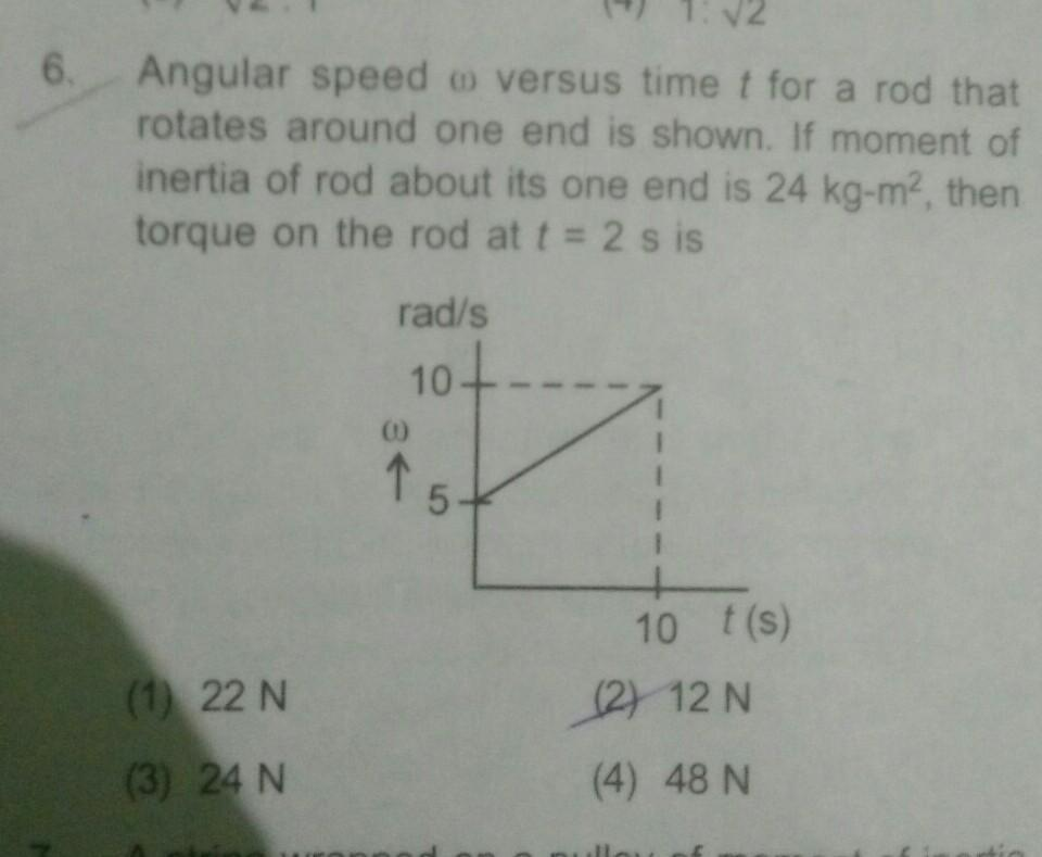 6 Angular speed o versus time t for a rod thatrotates around