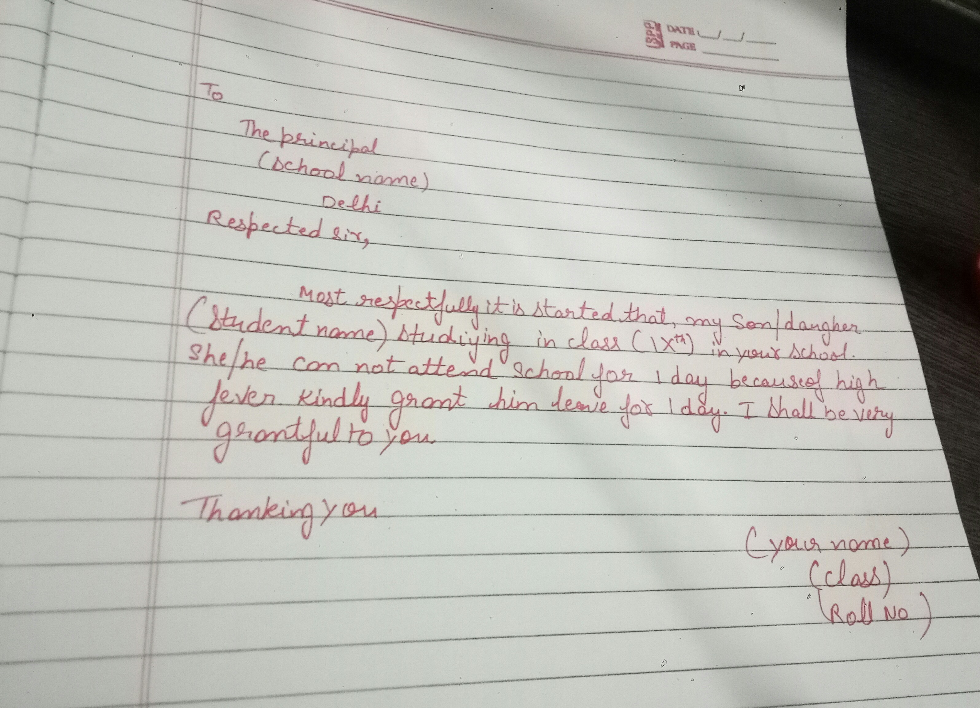One day leave because of fever to class teacher brainly friend here is your answer if my answer is help ful so please mark as brainlist in this application you have to write girl boy and you have to write spiritdancerdesigns Image collections