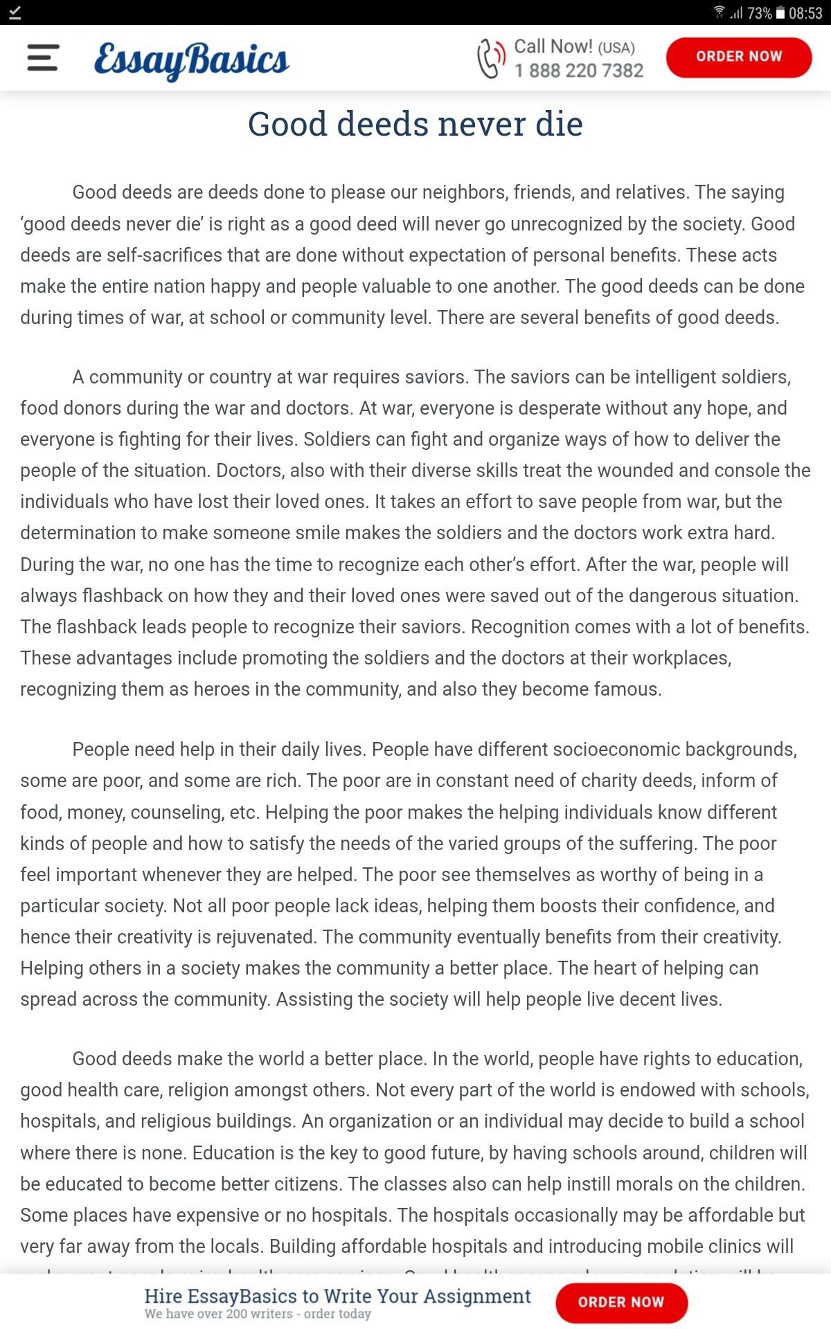 essay on good deeds never die