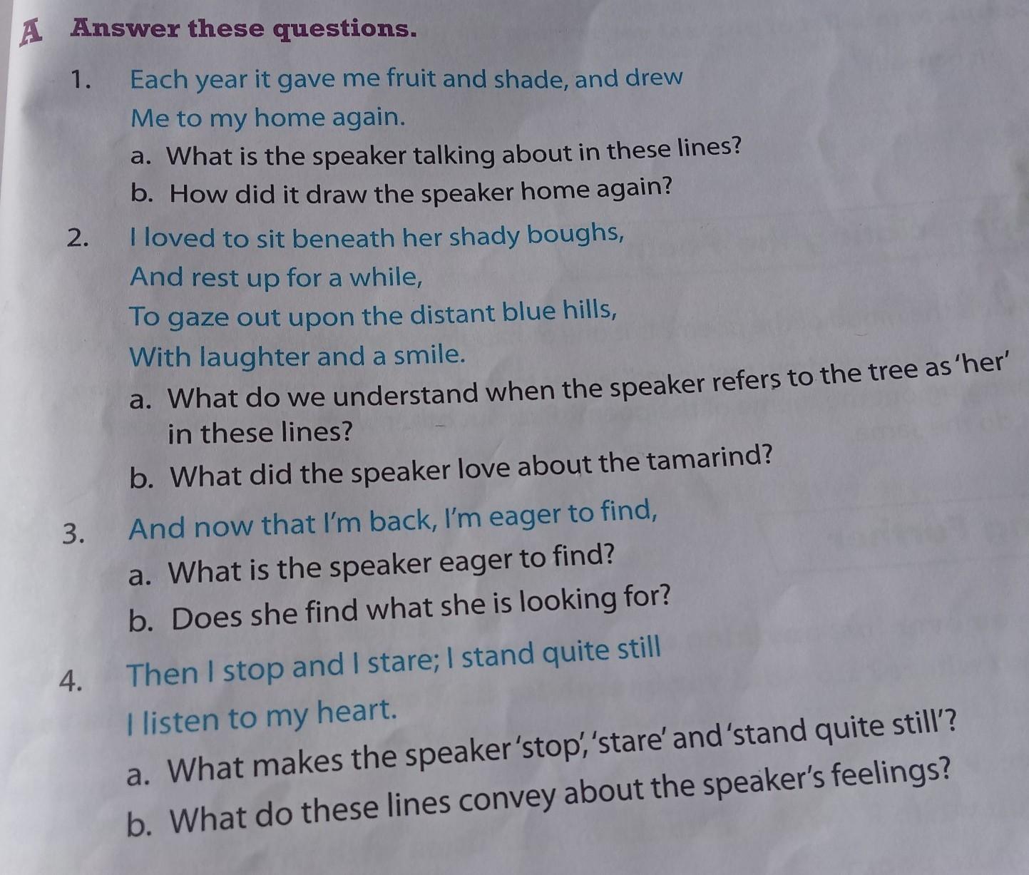 poem tamarind | english gulmohar | class 5 | answer key ...