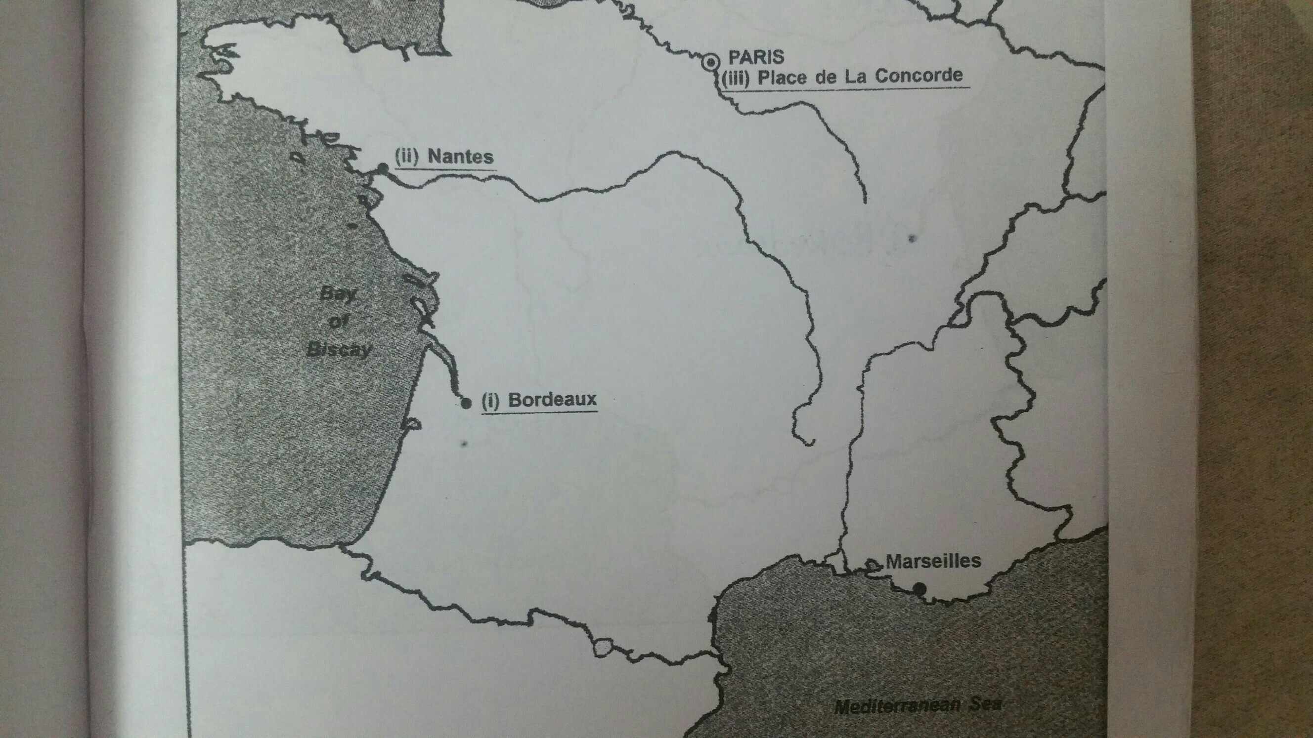 on the outline map of France locate the following places. a ) nantes ...