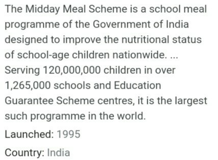 what is mid day meal programme class 7