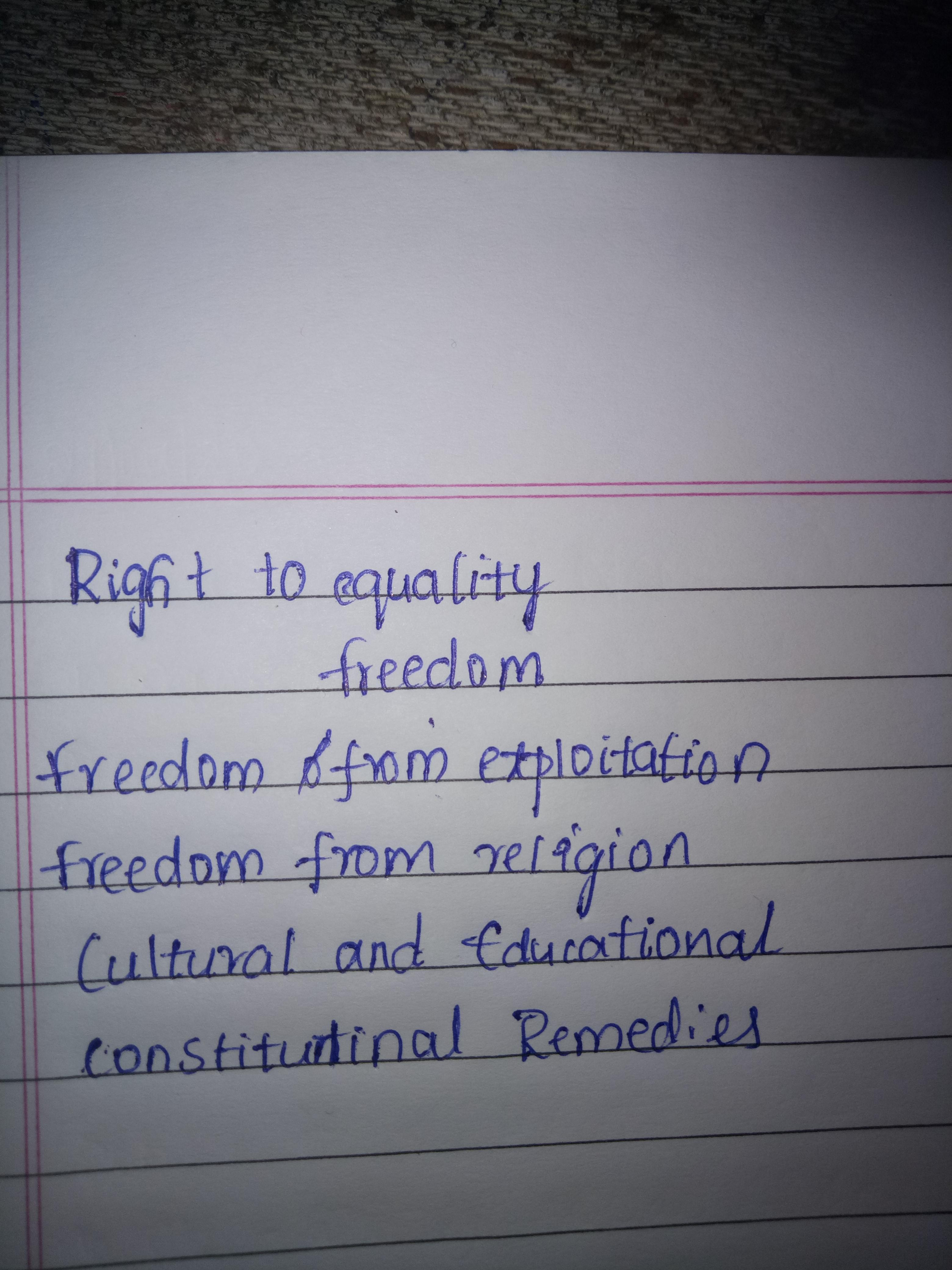 Ques2 How many fundamental Rights umchide in India. Constitution -  Brainly.in
