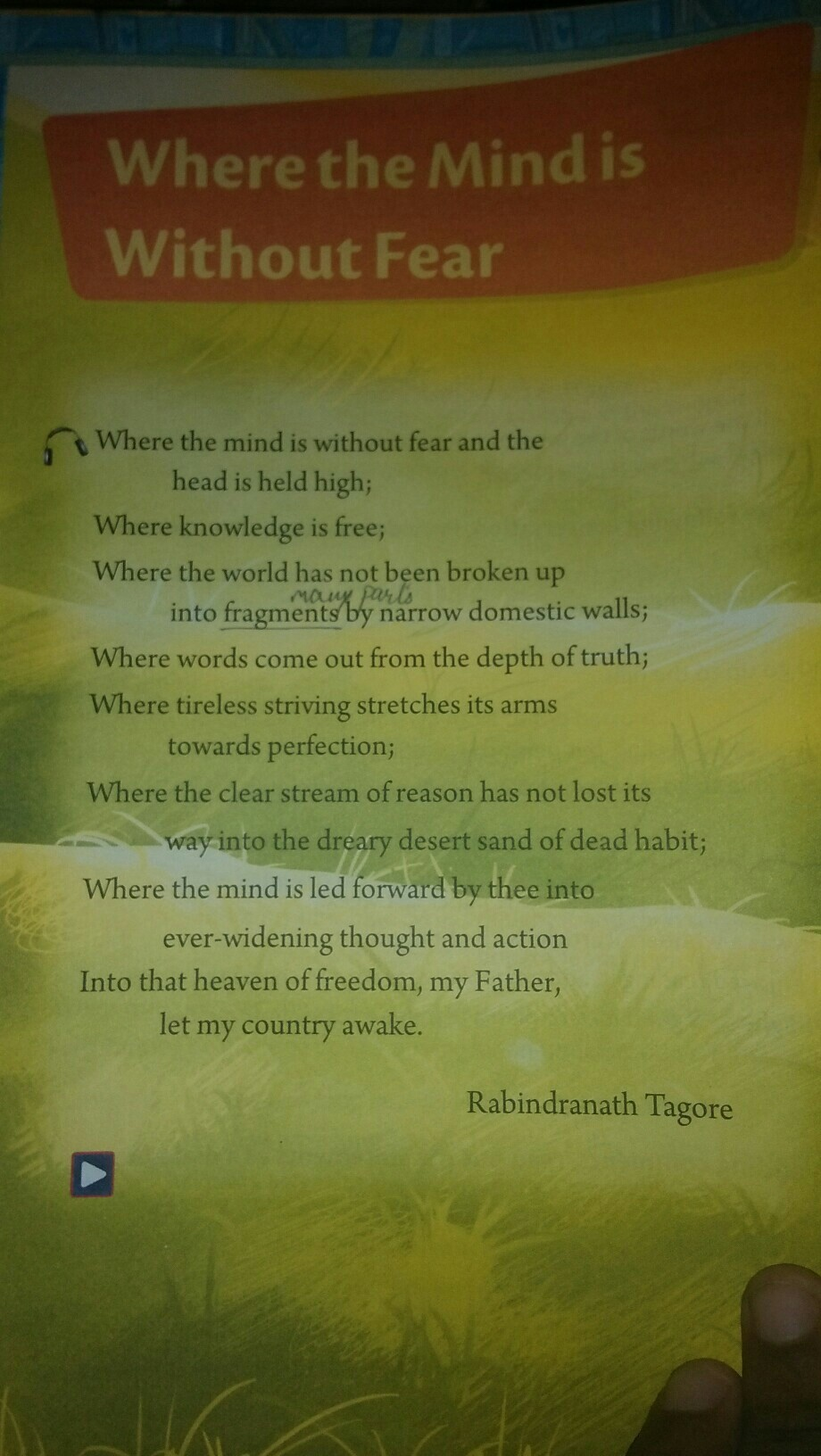 conclusion of the poem where the mind is without fear