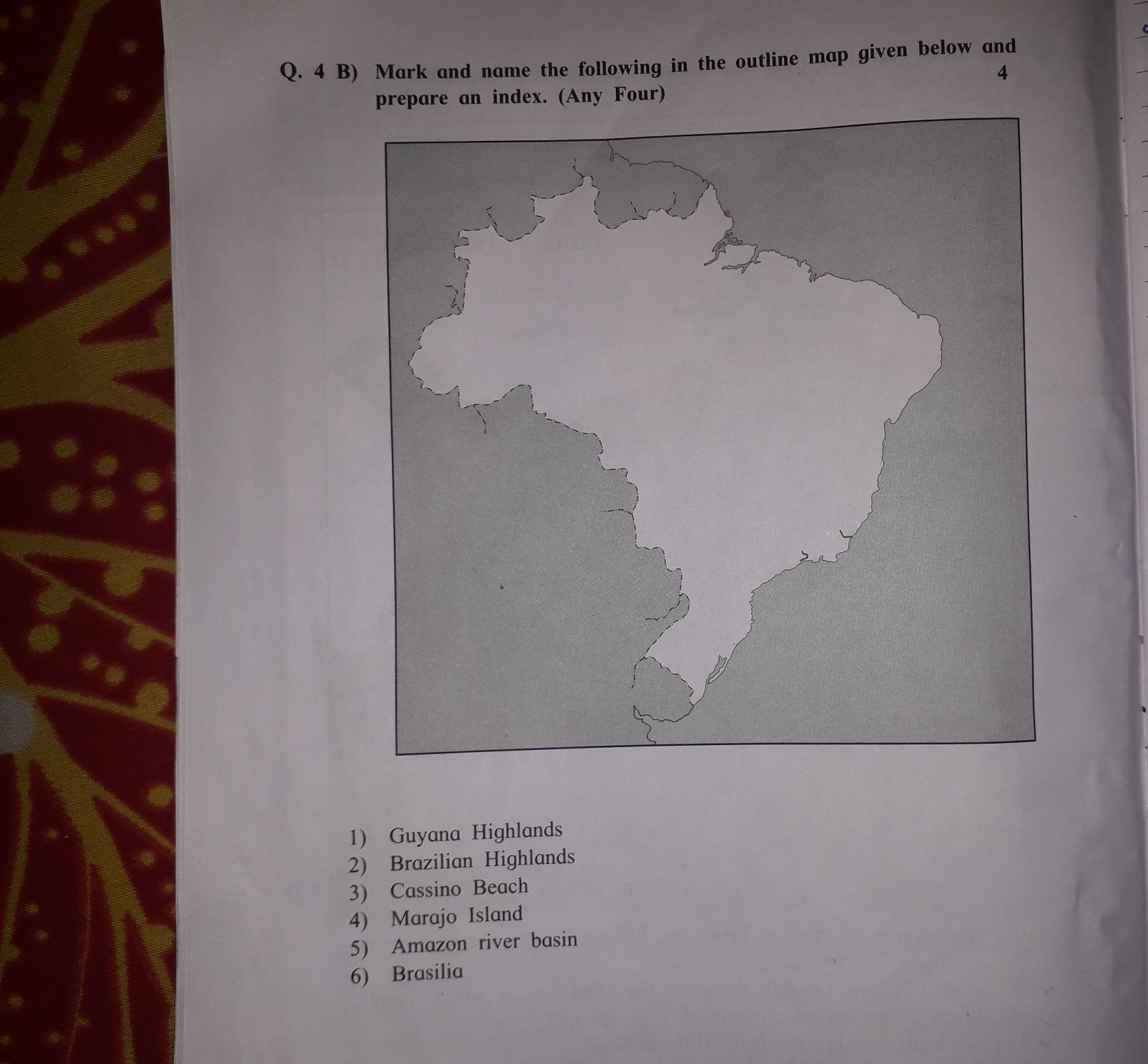 mark and name the following in the outline map given below ...