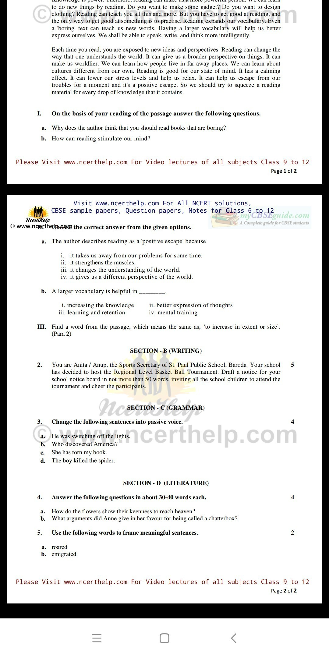 NCRT question paper of class 7 English - Brainly in