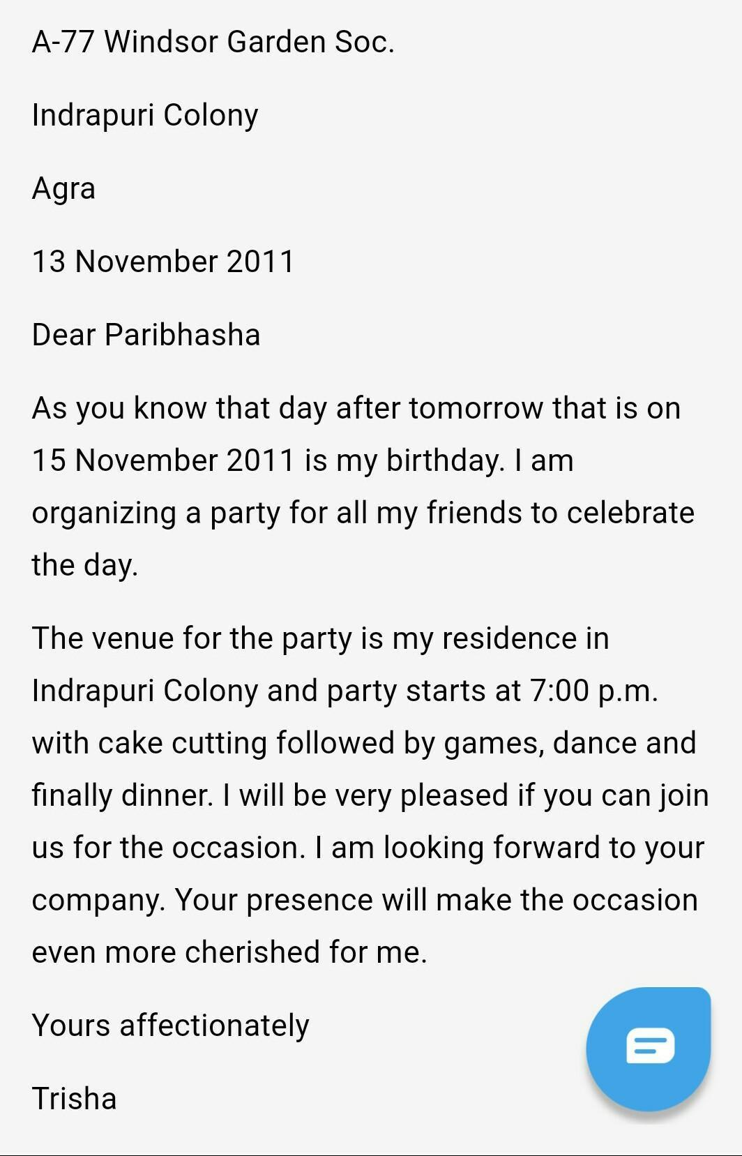 Write A Letter To Invite Your Friend On Birthday Party