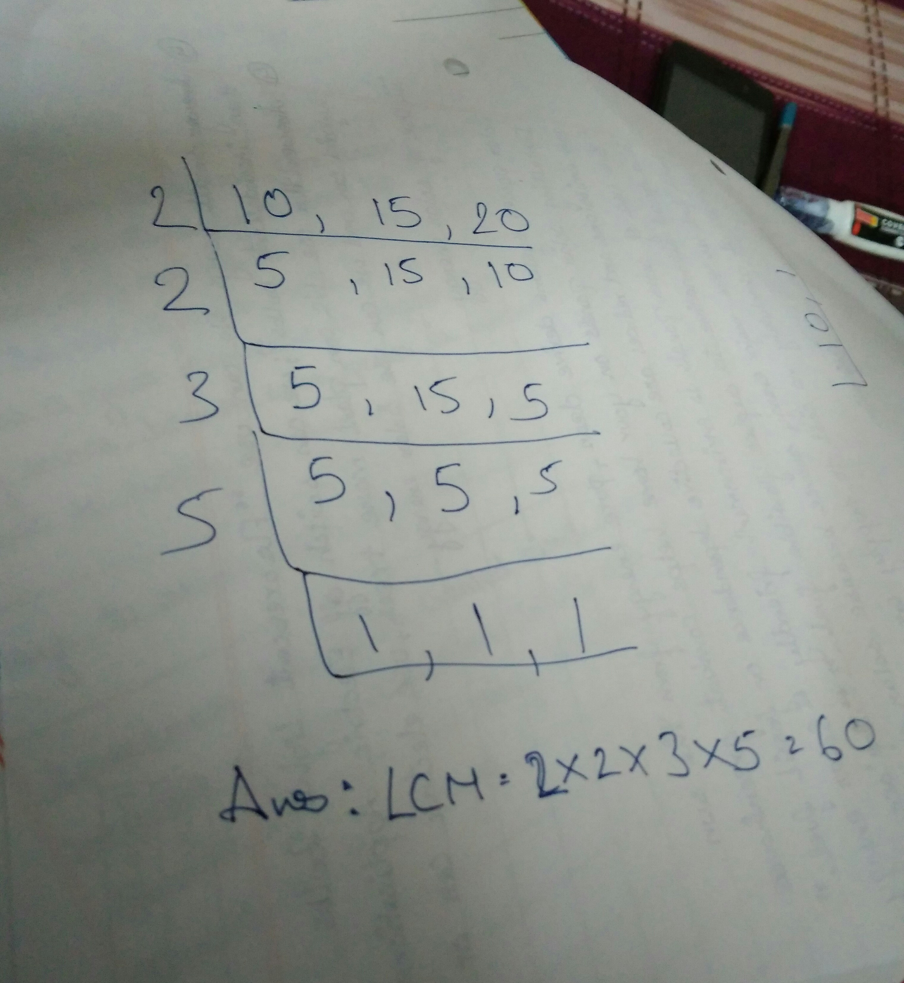 verify that HCF of 10,15,20 is factor of LCM of the same number ...