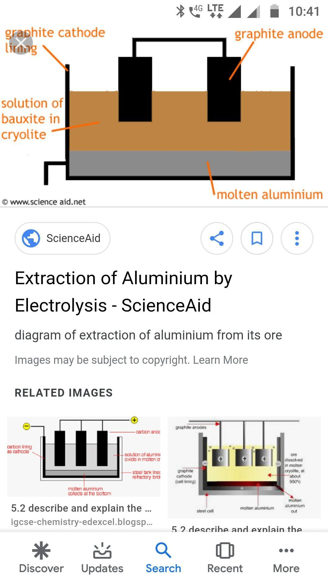 Discuss the electrolysis process to get aluminium from