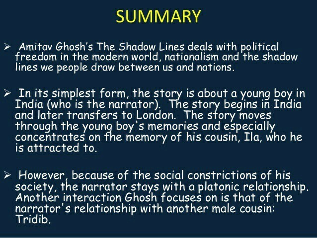 Summary of shadow lines by amitav ghosh sparknotes - Brainly in