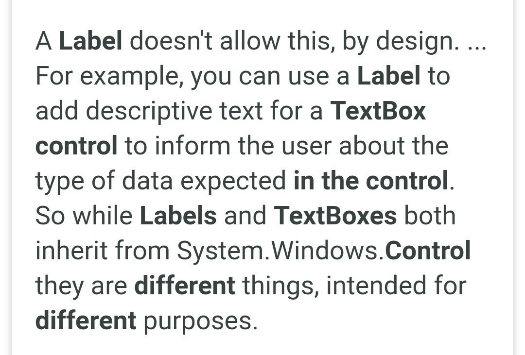 what is the difference between textbox and label control