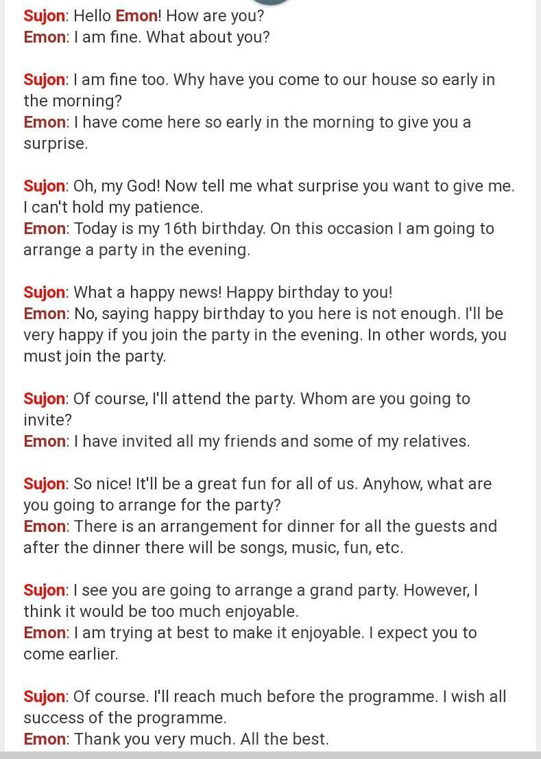 Conversation Between Two Friends About Birthday Parties Brainly In