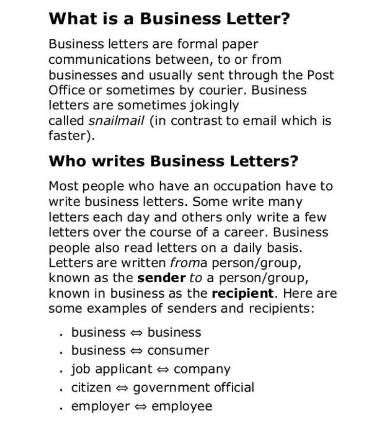 What Is Business Letterwhat Is Business Letter Brainly In