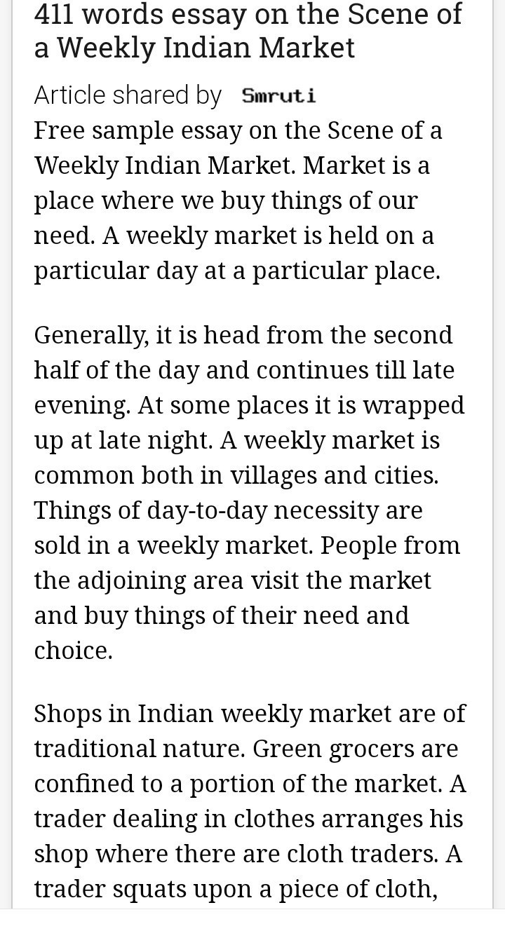 narrative essay night market