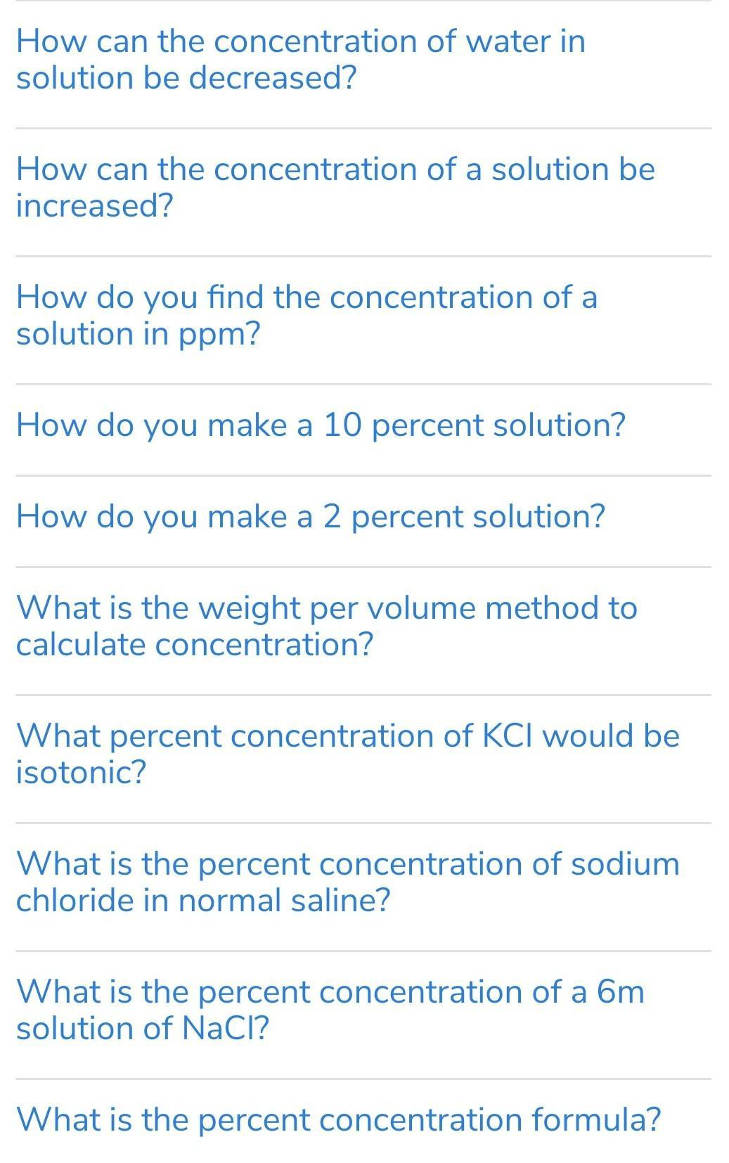 please make 10 questions of concentration in terms of mass by mass  percentage of the solution - Brainly.in