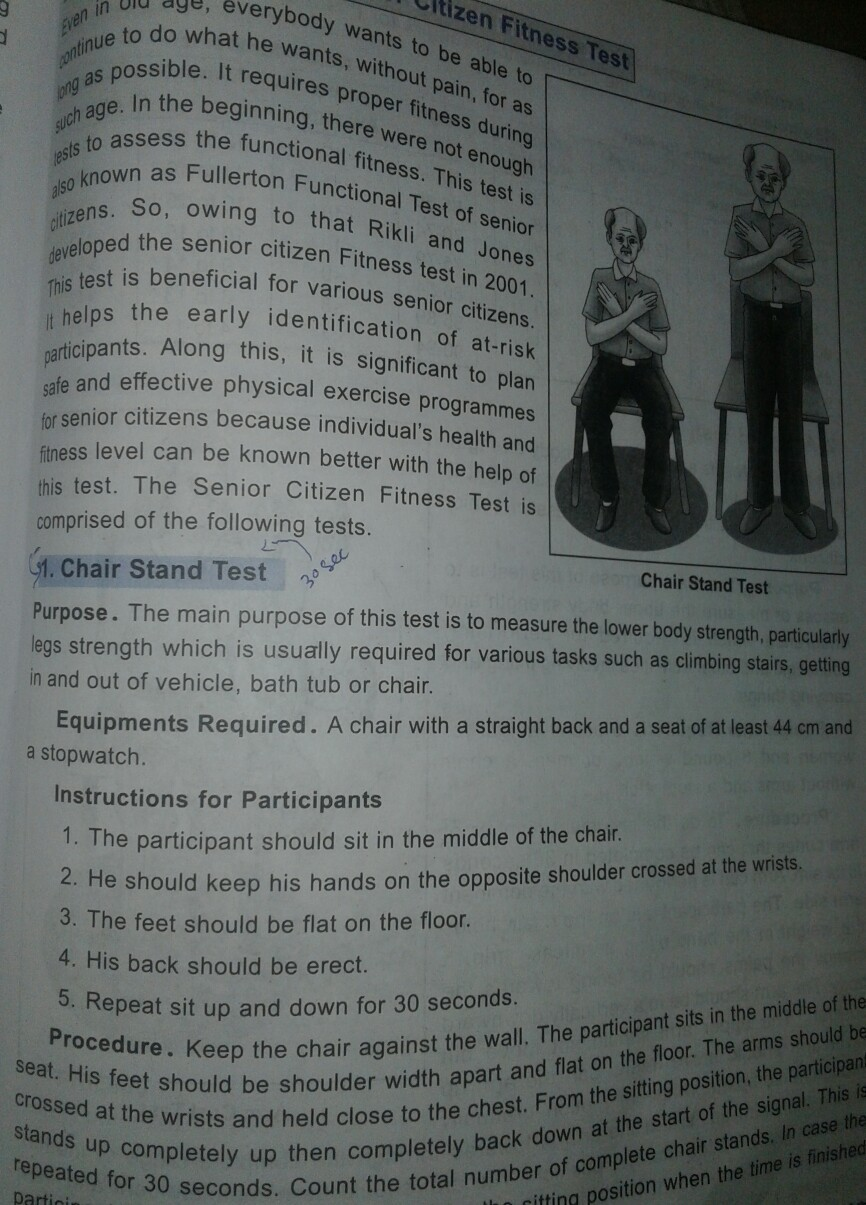 procedure of senior citizen fitness test - Brainly in