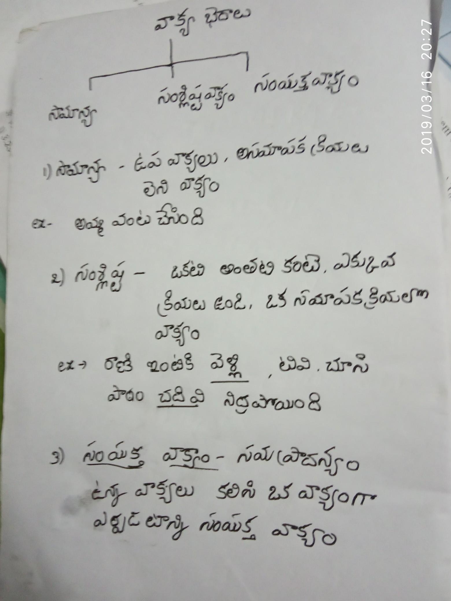 Telugu vakyalu with definition (in Telugu please) Eg