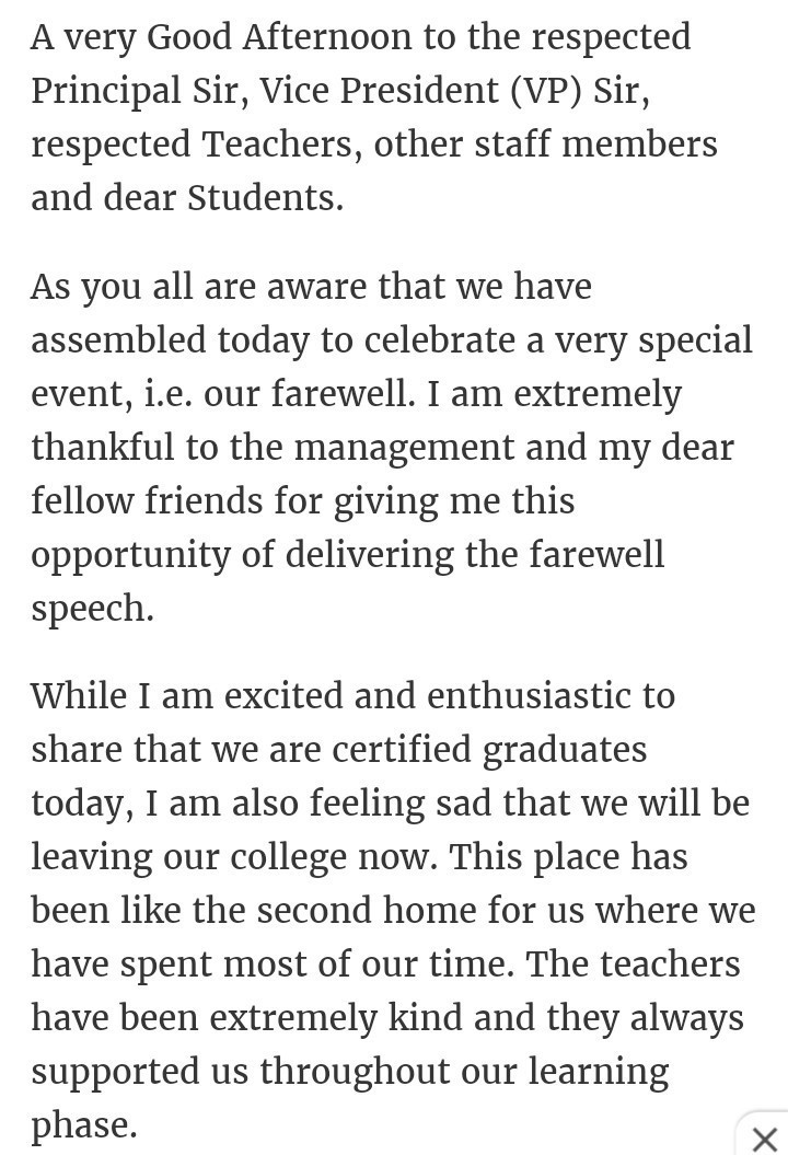 farewell speech for students by principal