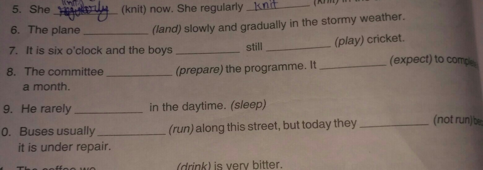 fill in the blanks using the simple present tense or the present