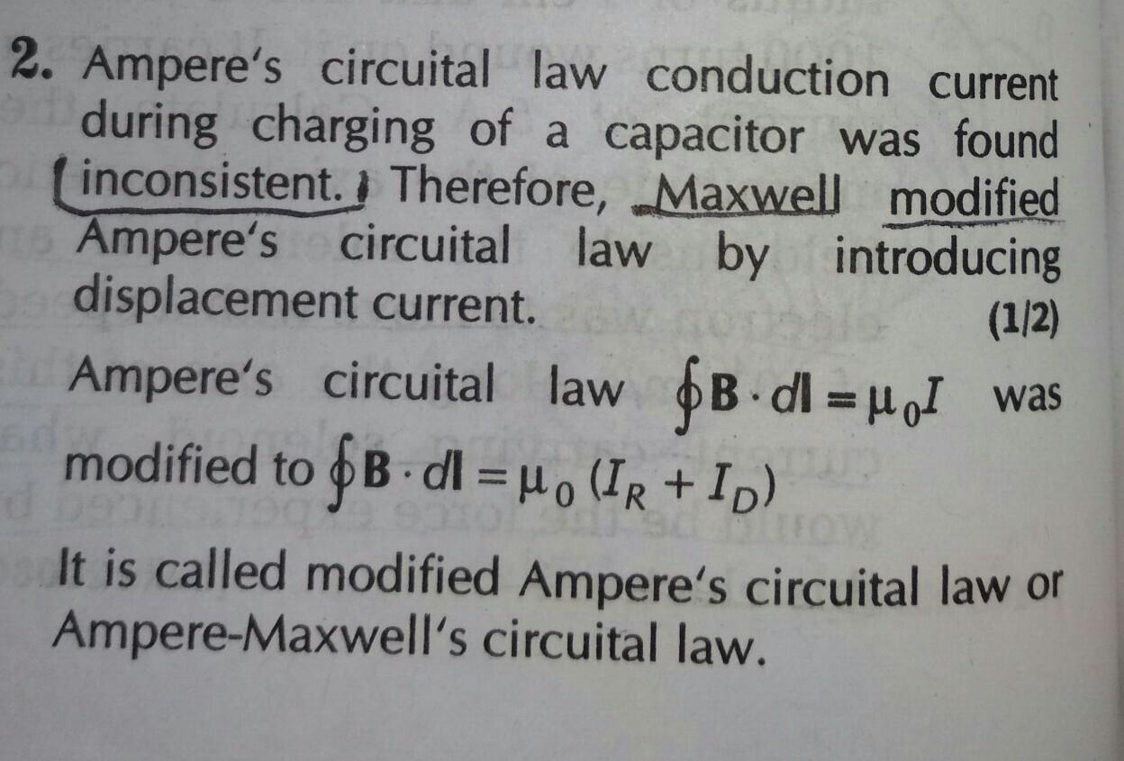 write down the integral form of modified ampere's circuital