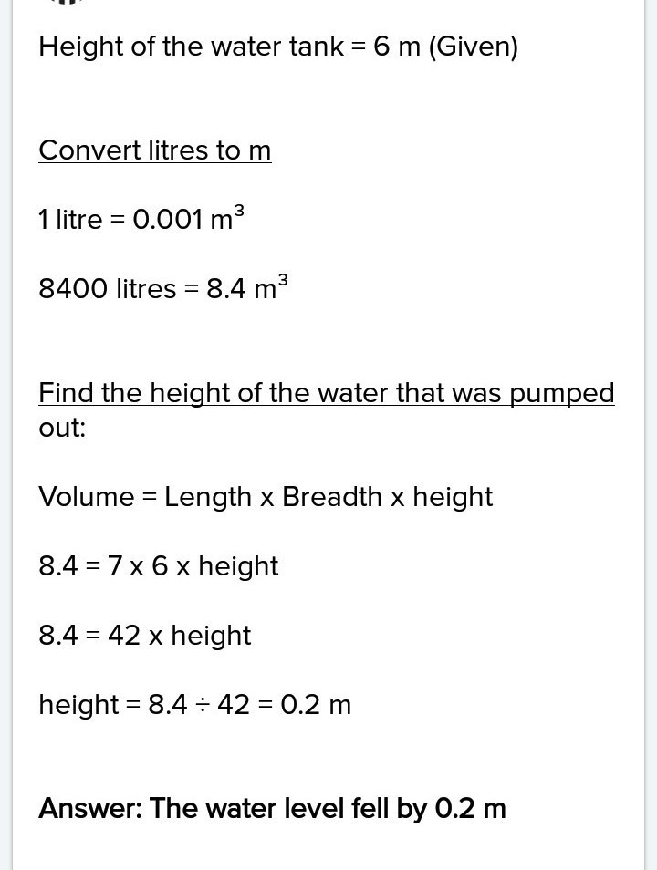 a rectangular tank whose length and breadth are 2 5 M and