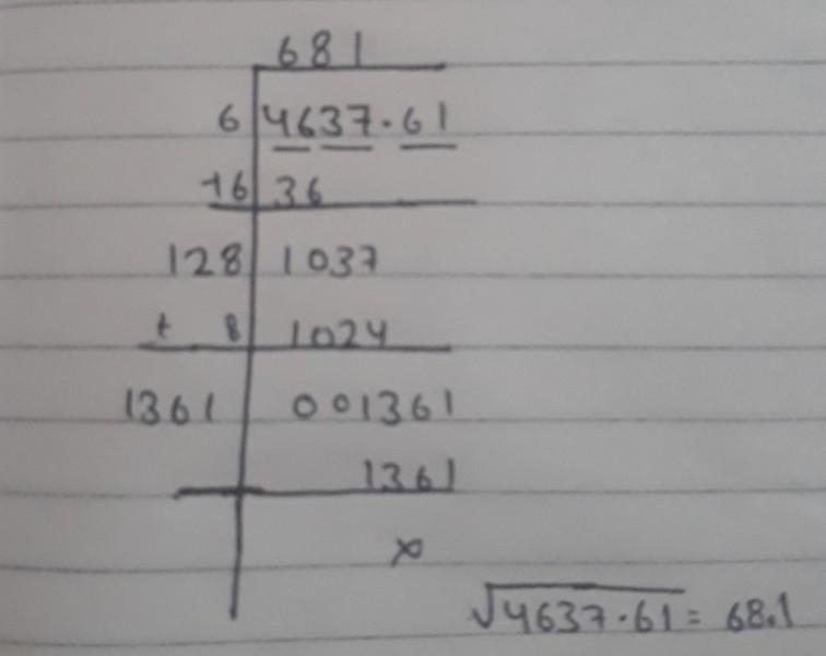 Find The Square Root Of 4637 61 By Division Method Ajukan pertanyaan tentang tugas sekolahmu. diy solar patio cover