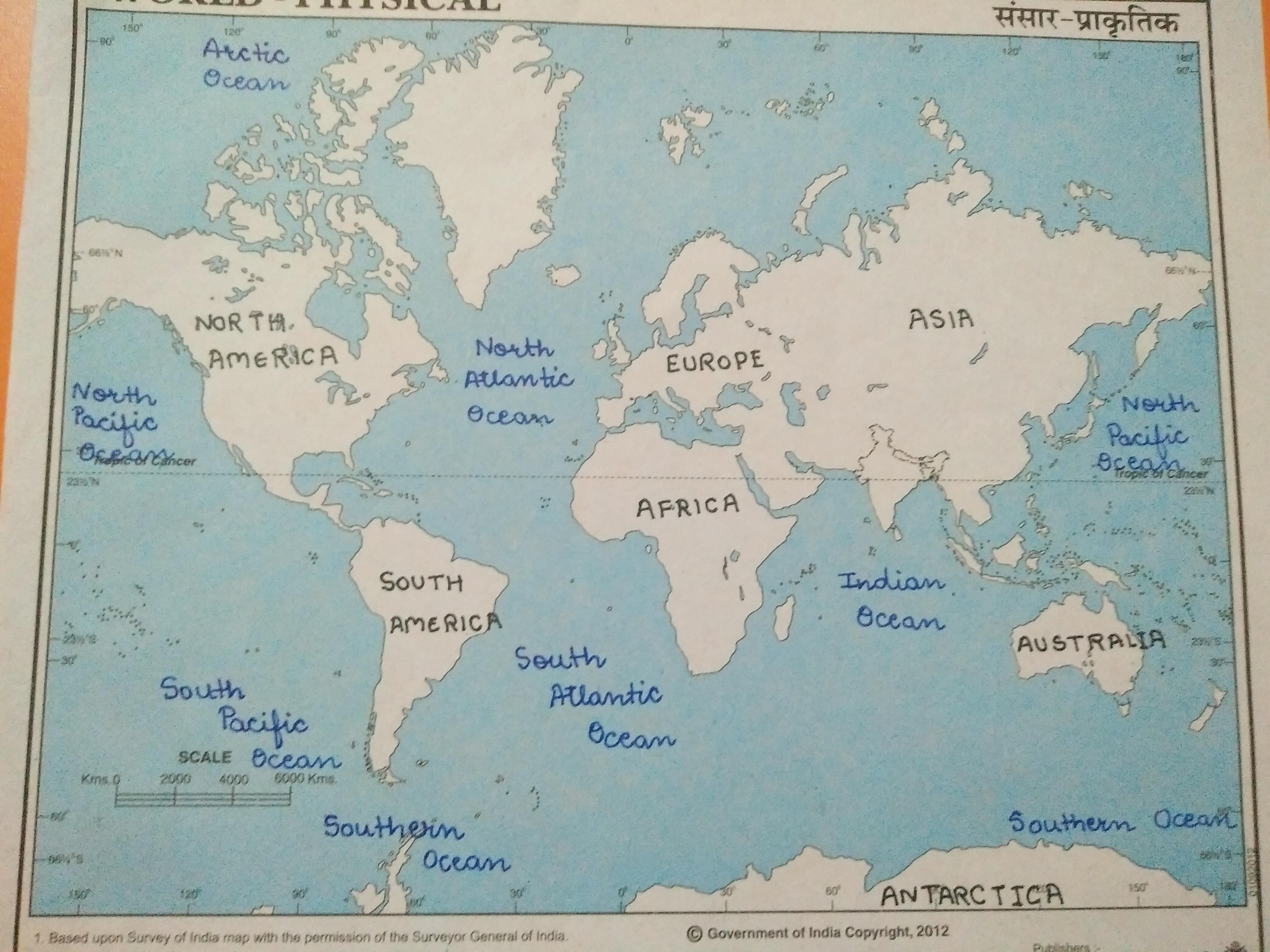 Picture of: World Map Mark All Continents And Oceans In The World Map Brainly In