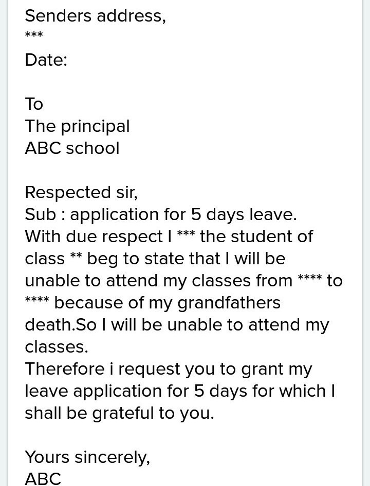 School leave application for grandfather expired simplest formal