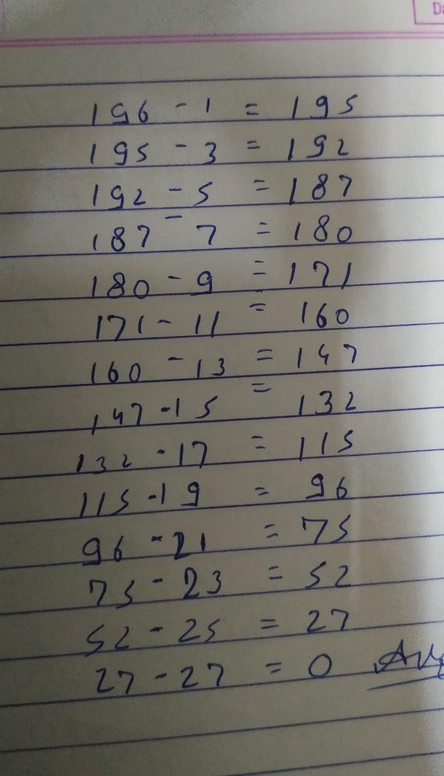 Square Root Of 225 By Repeated Subtraction – Divide this estimate into the number by repeated subtraction of odd numbers starting from 1, find whether the following numbers are perfect squares or not?