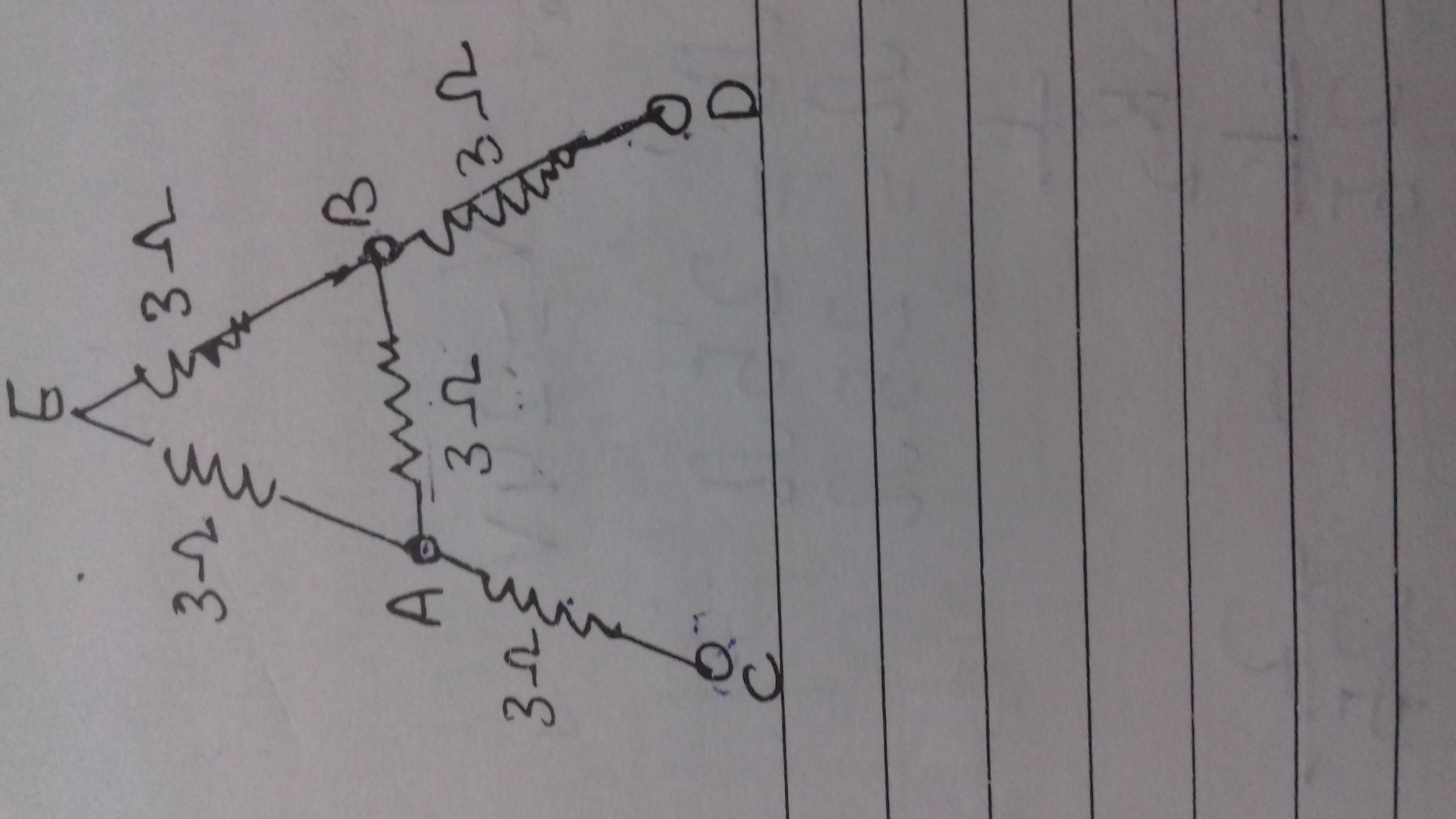 Five resistors each of 3 ohm are connected as shown in figure ...