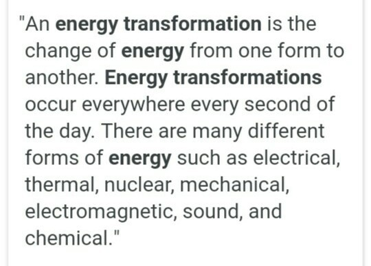 10 Examples To Transformation Of Energy Brainly