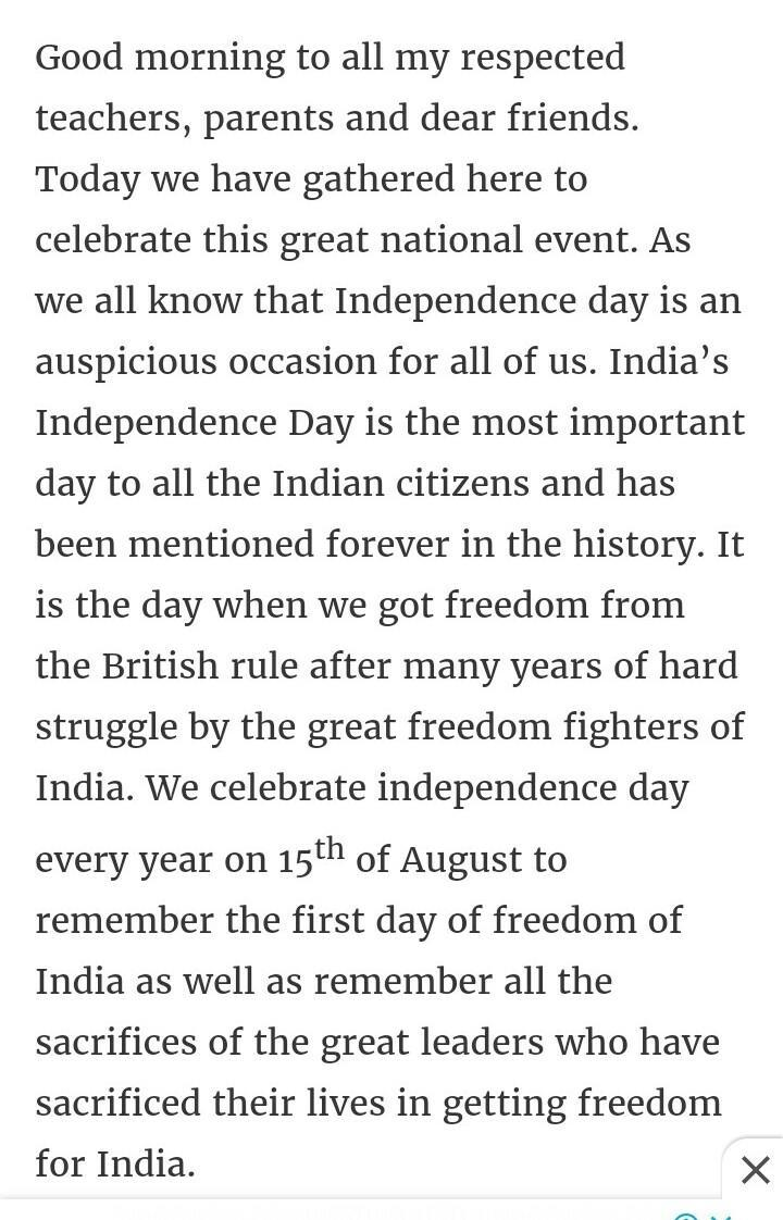 write a speech on Independence day with suitable title