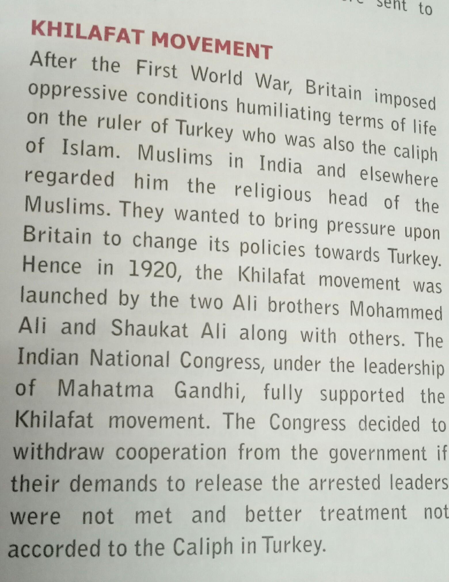leader of khilafat movement