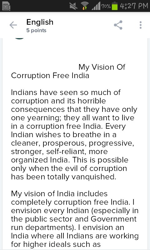Essay On Corruption Free India In  Words Only  Brainlyin Download Jpg