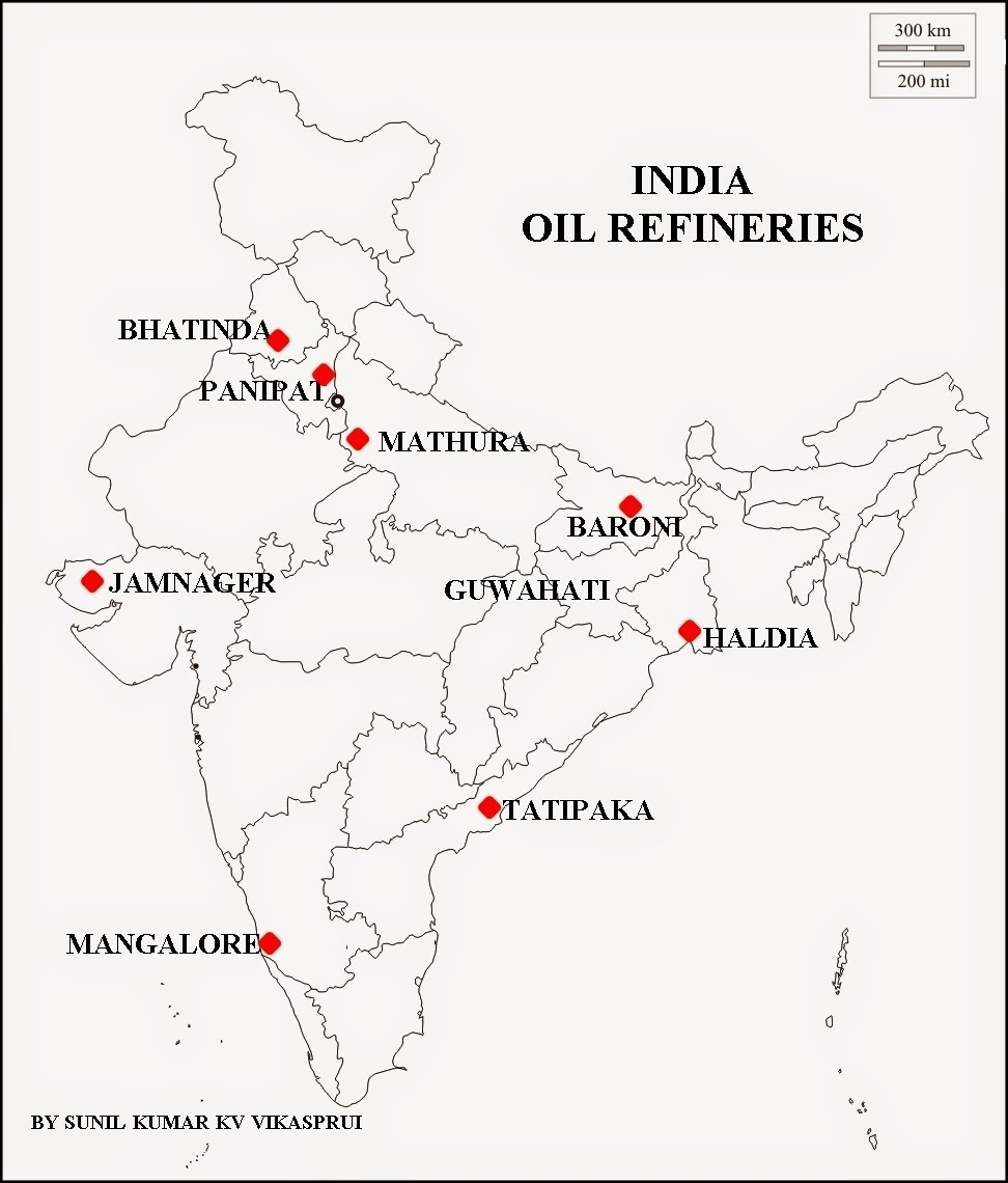 Places Where Coal Petroleum And Natural Gas Are Found In India Map