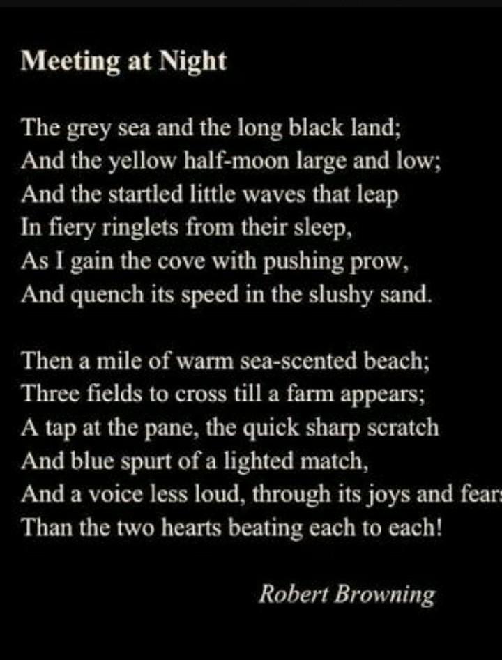 meeting at night poem summary