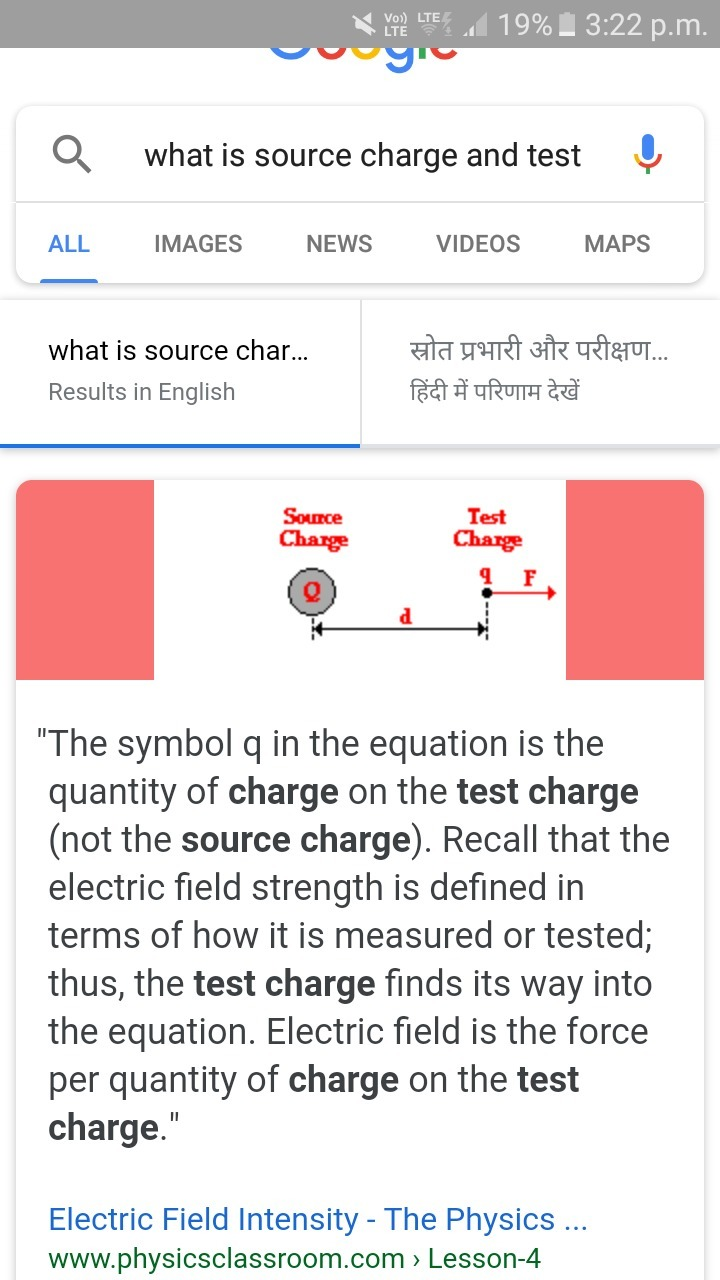 What Is The Source Charge And Test Charge Brainly