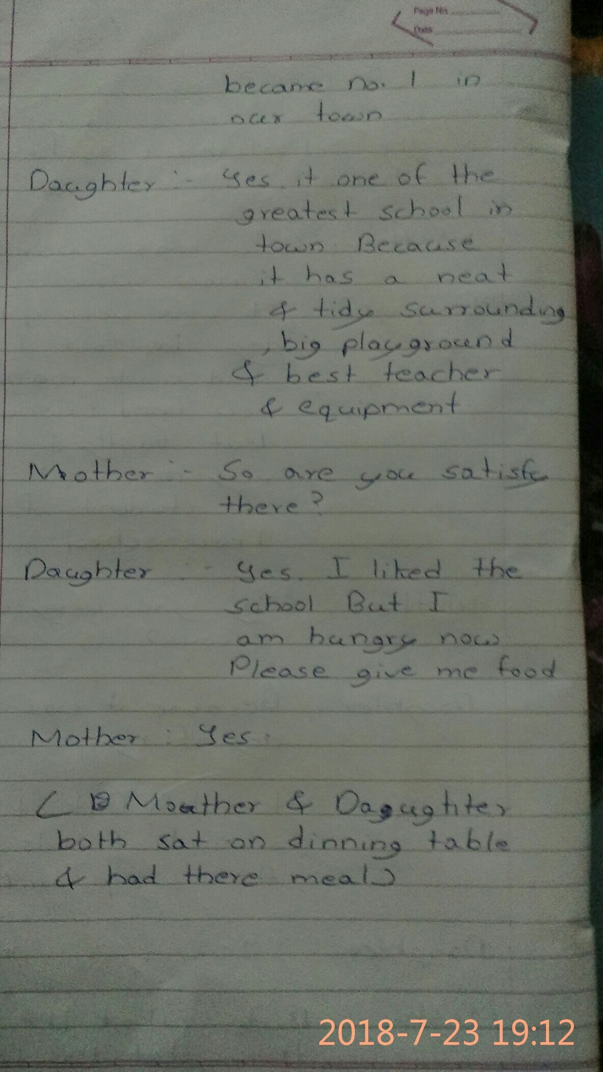 writting a dialogue between a mother and daughter discussing the
