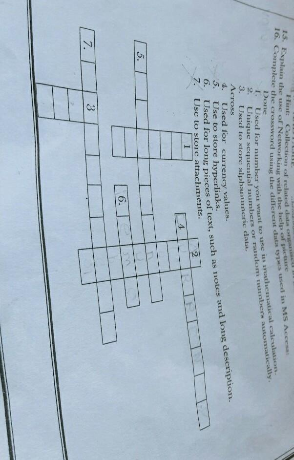 16  Complete the crossword using the different data types