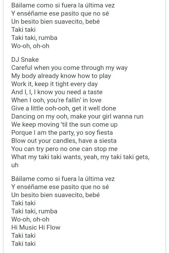 Taki taki lyrics