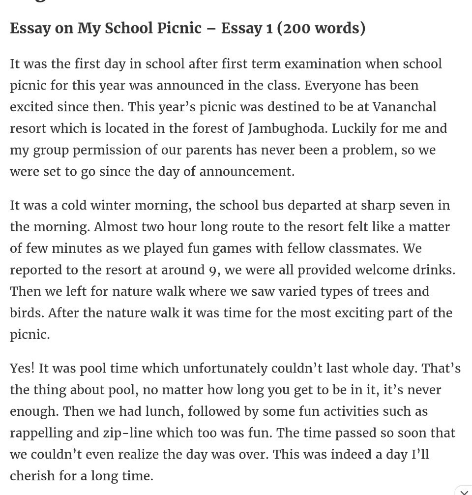 essay on school picnic for class 4