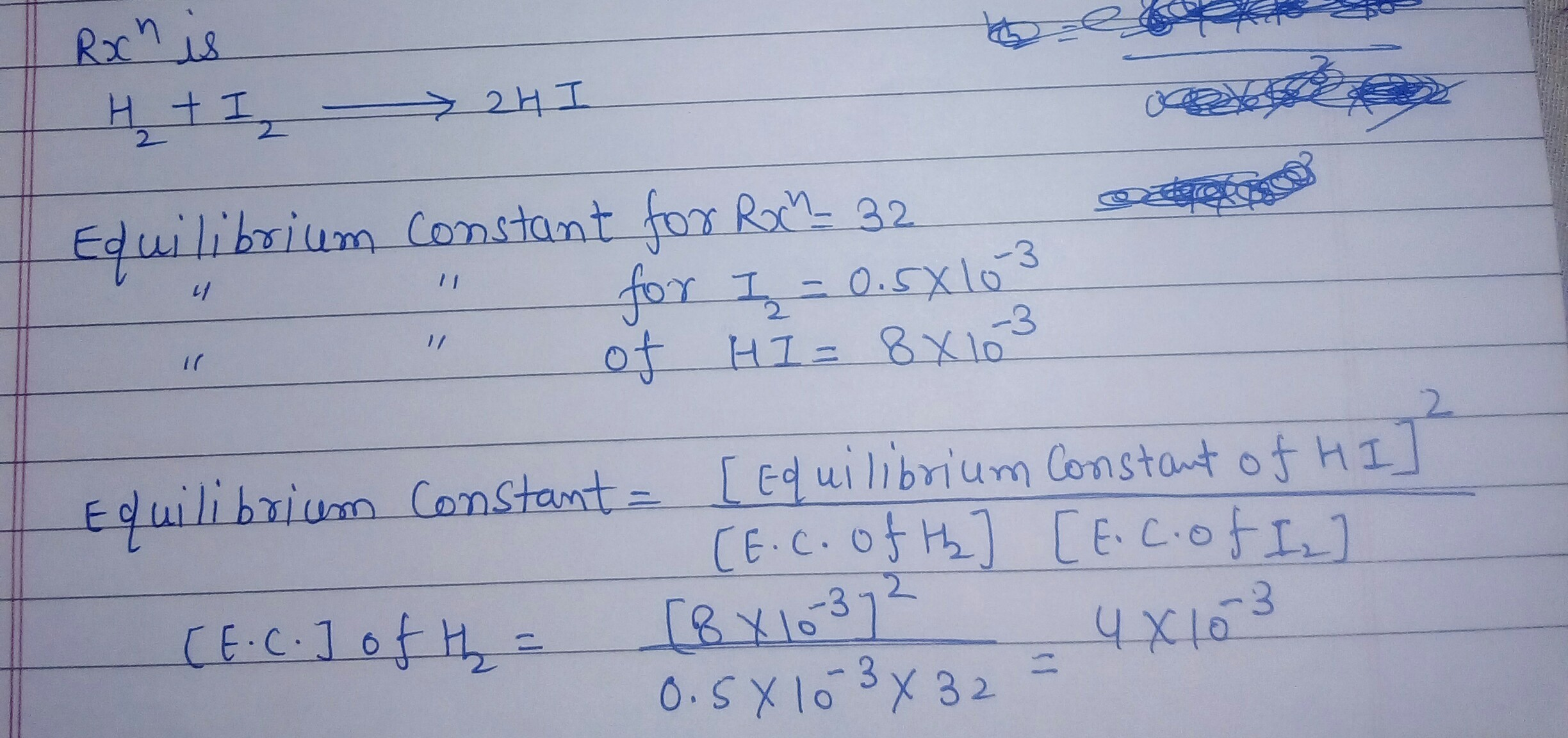 The equilibrium constant for reaction H2 +I2 gives 2HI is 32