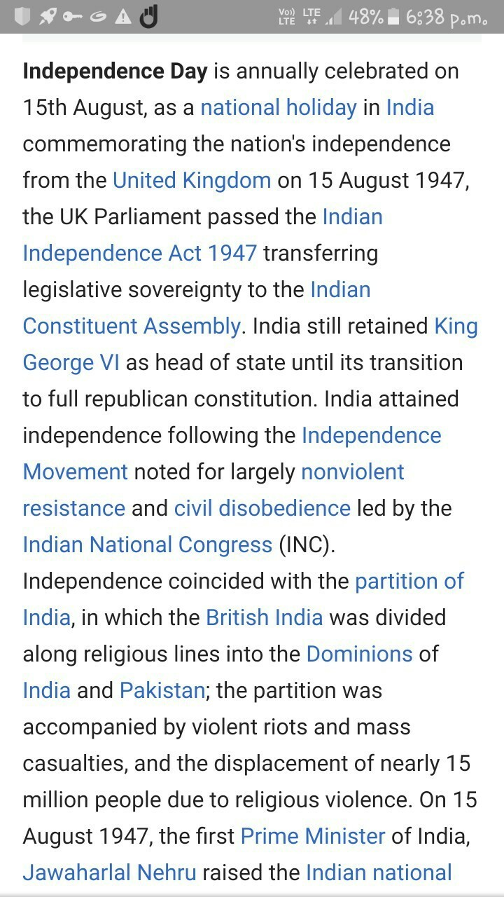 paragraph on independence day