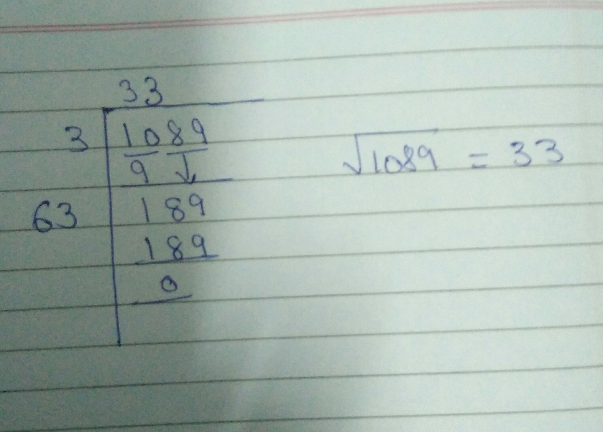 Square Root Of 1089 By Division Method Brainly In